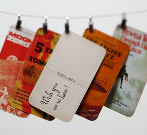 Recycle old book covers into vintage inspired post cards for How to reuse old books
