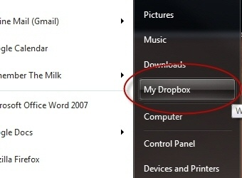 Add Your Dropbox Folder to Windows 7's Start Menu
