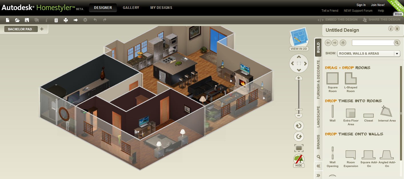 Autodesk homestyler renders your blueprints in 3d for Homestyler 3d