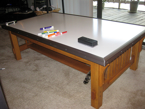 Diy dry erase tabletop turns any table into a polished for Apartment make ready board