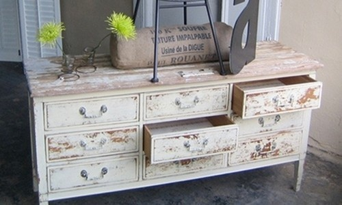Use milk paint to give furniture a worn and vintage look for Looking for furniture