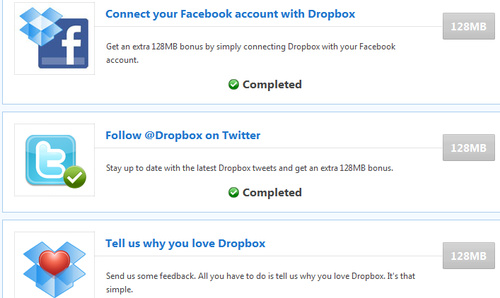 Grab Up to 768 MB Free Dropbox Space Through Social Media Connections