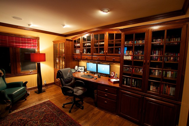 built ins and earth tones a traditional home office