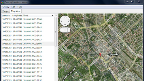 Creepy Stalks Twitter, Foursquare, and Flickr Users by Aggregating GPS Data