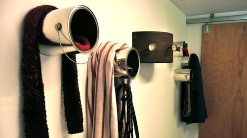 Paint Cans as Coat Hooks Offer More Versatile Doorway Storage