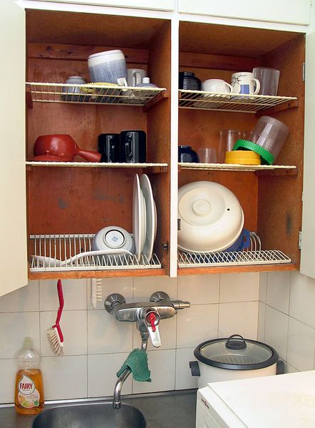 Dish Dryer Cabinet ~ Handwash dishes more efficiently with a dish draining