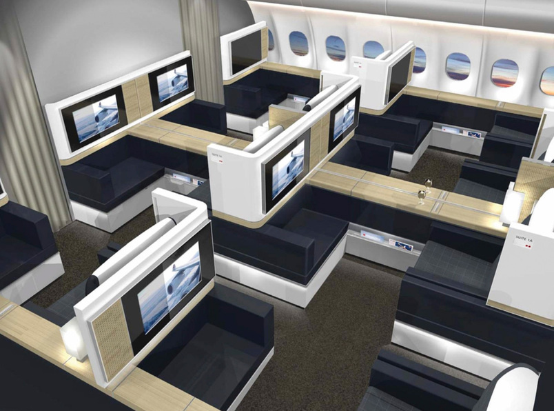 New aeroplane interior design allows for romantic dinner for First class 8 interieur