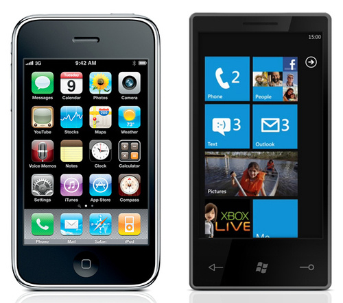Side by side iPhone comparison with WP7