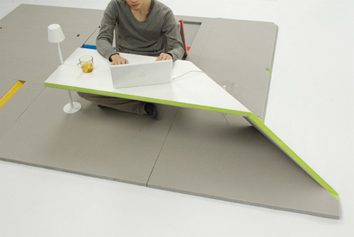 Land Peel Floor Mat Folds Up Tables and Seats For Daily Use