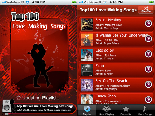 The Top 100 Sensual Love Making Sex Songs app (whatta title),