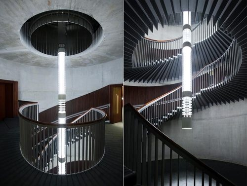 A Staircase and a Chandelier