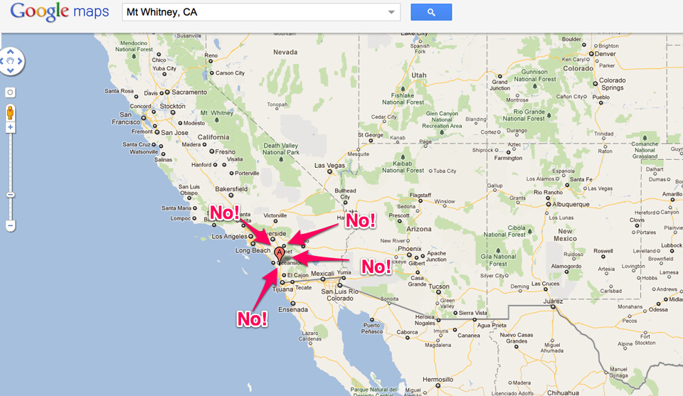 Google Misplaced Biggest Mountain In Continental US Gizmodo - Mountains in us map