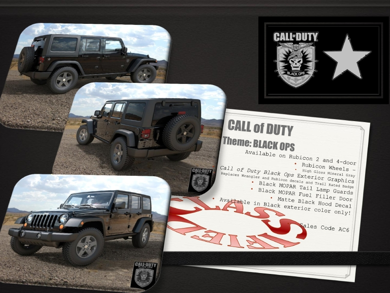 "Black Ops decals replace the Wrangler and Rubicon decals and the ""Trail"