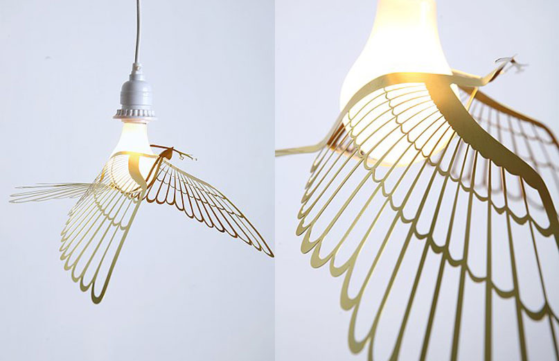 Bird Pendant Decorates Exposed Bulbs The Easiest Way