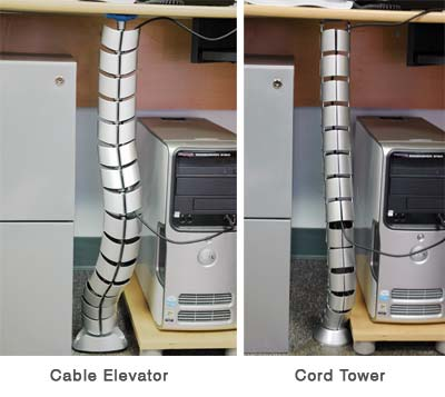 This snake like contraption conceals your cords and channels them down