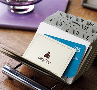 Repurpose a business card organiser to store gift loyalty for Lifehacker business cards